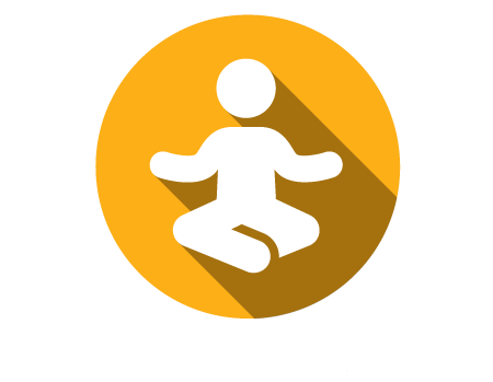 A graphic of a man doing a meditative yoga pose on a yellow circle background